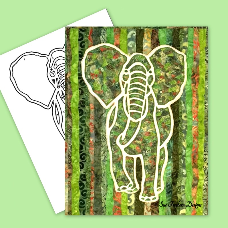 elephant, elephant silhouette, elephant collage, template, suefreeberndesigns